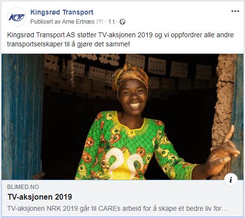 Kingsrød Transport AS støtter TV-aksjonen 2019!
